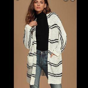 Lulu's Black and White Cardigan Sweater size:small